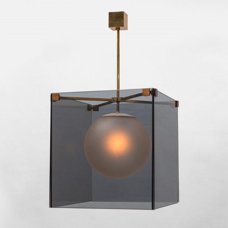 Rare Smoked Glass Chandelier, model 2073 by Max Ingrand for Fontana Arte | soyun k.