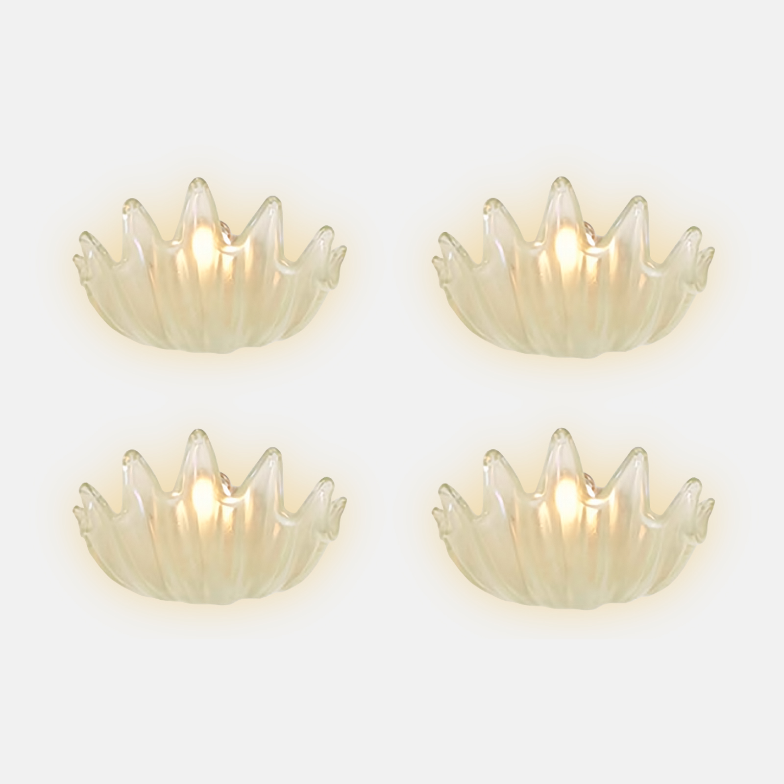 Rare Set of Four Clamshell Sconces by Ercole Barovier for Barovier & Toso | soyun k.