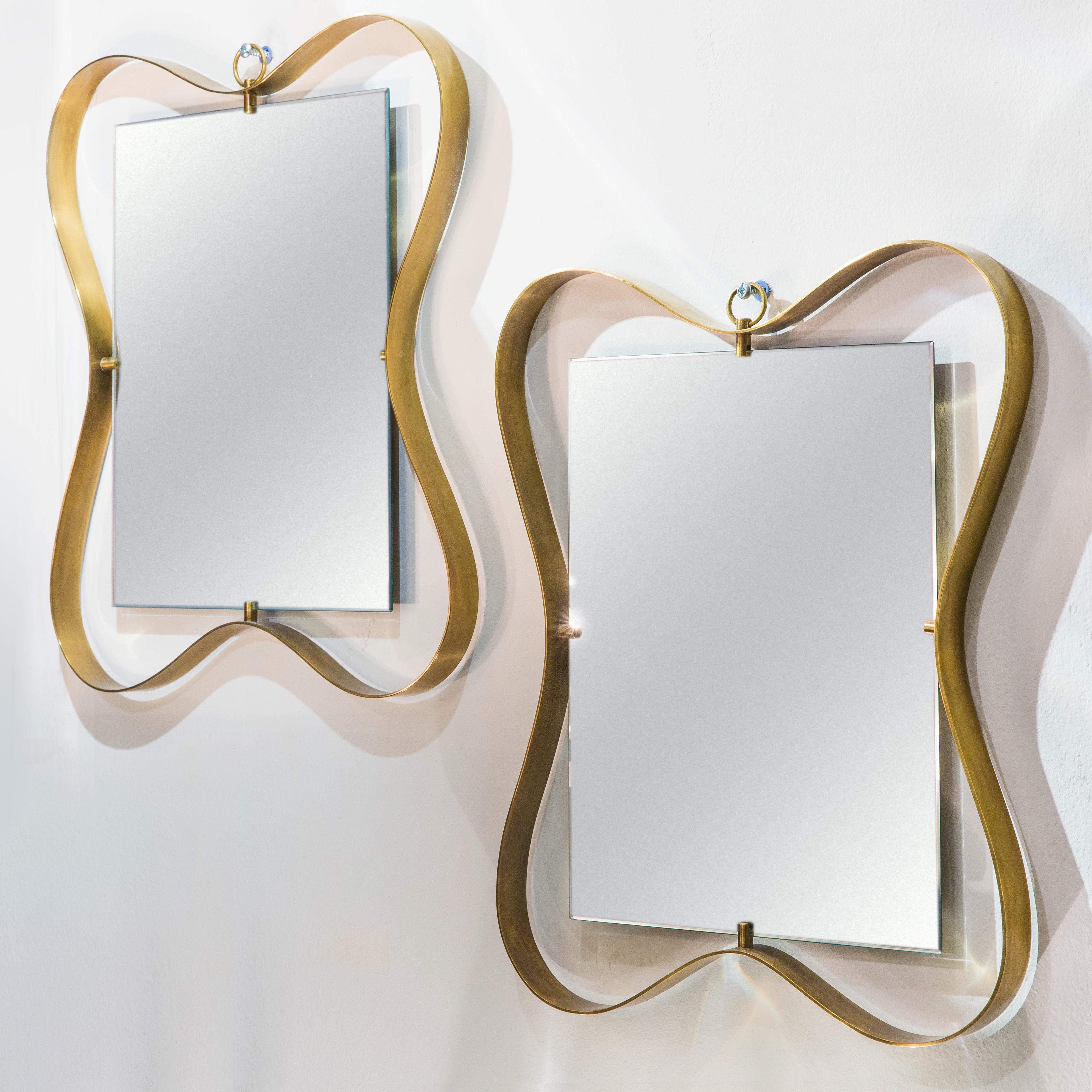 Pair of Small Brass Framed Mirrors by Fontana Arte | soyun k.