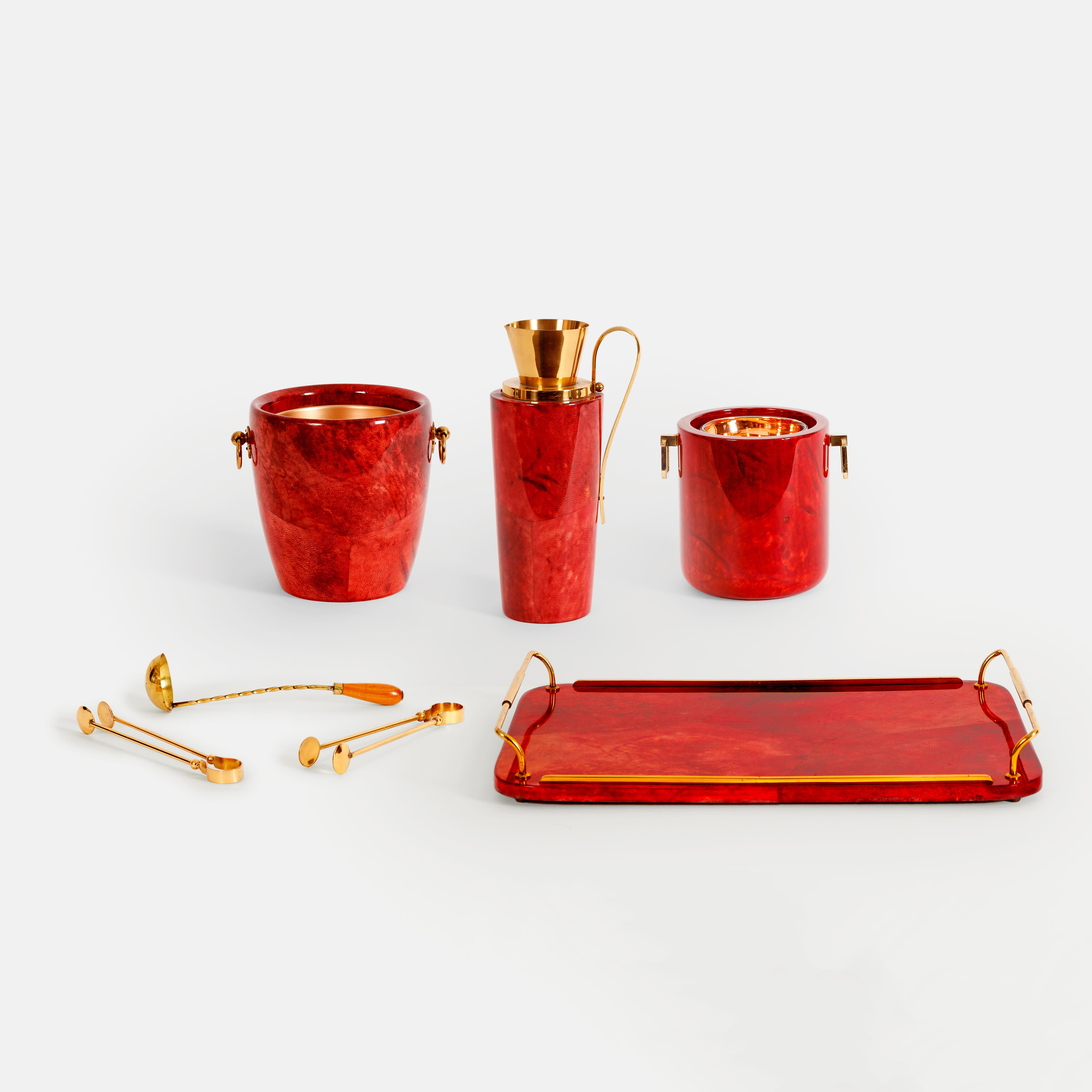 Red Lacquered Parchment and Brass Barware Set by Aldo Tura | soyun k.