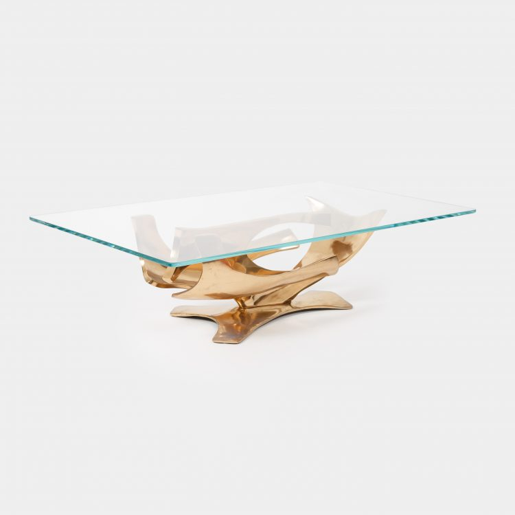 Sculptural Gilt Bronze Coffee Table by Fred Brouard | soyun k.