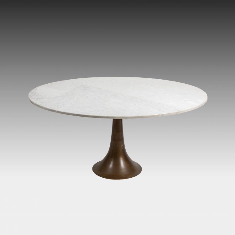 Carrara Marble and Bronze Dining or Center Table by Angelo Mangiarotti for Bernini | soyun k.