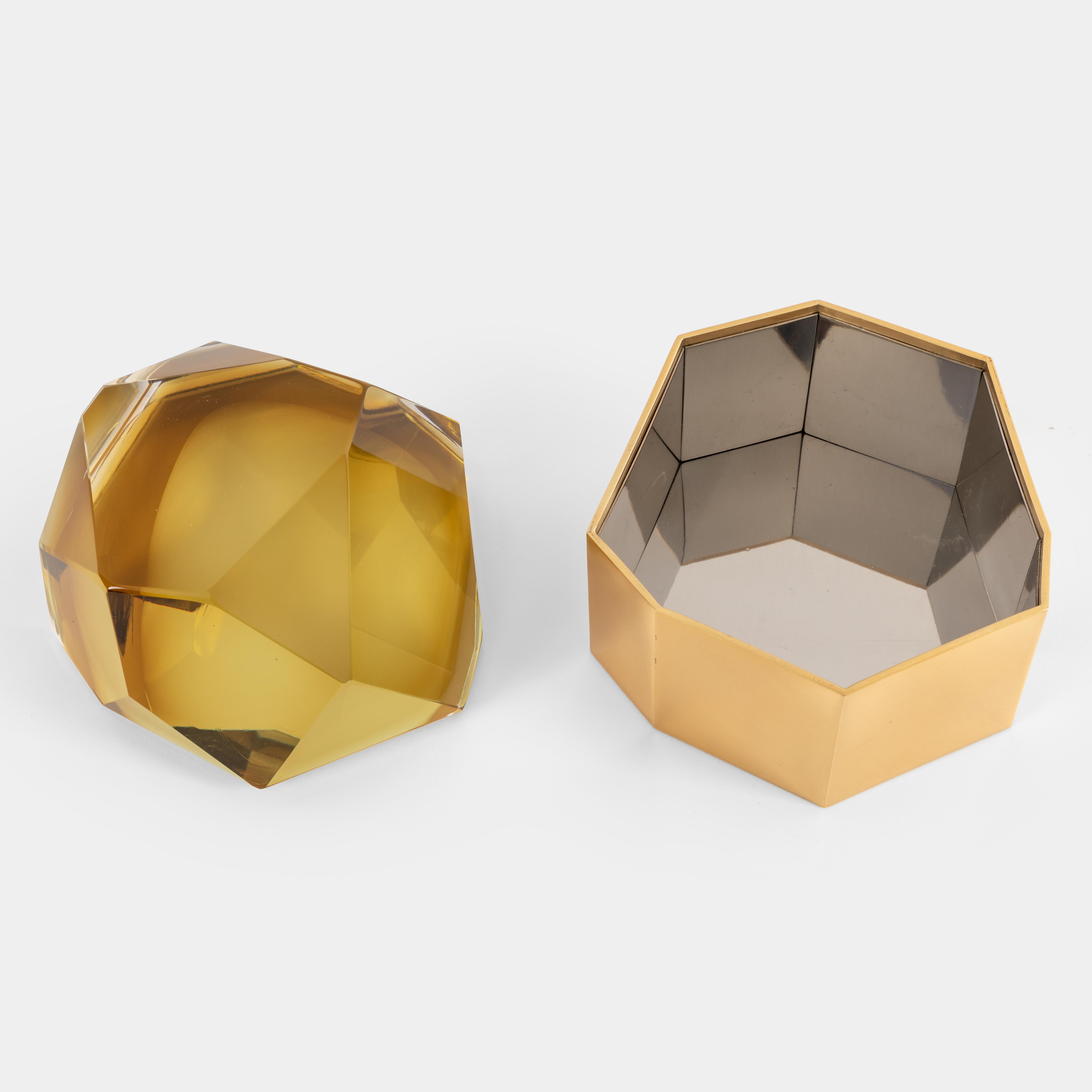 Amber 'Diamante Murano' Glass Box by Roberto Giulio Rida | soyun k.