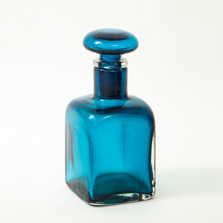 Large Blue Glass Bottle with Stopper by Paolo Venini for Venini & C. | soyun k.