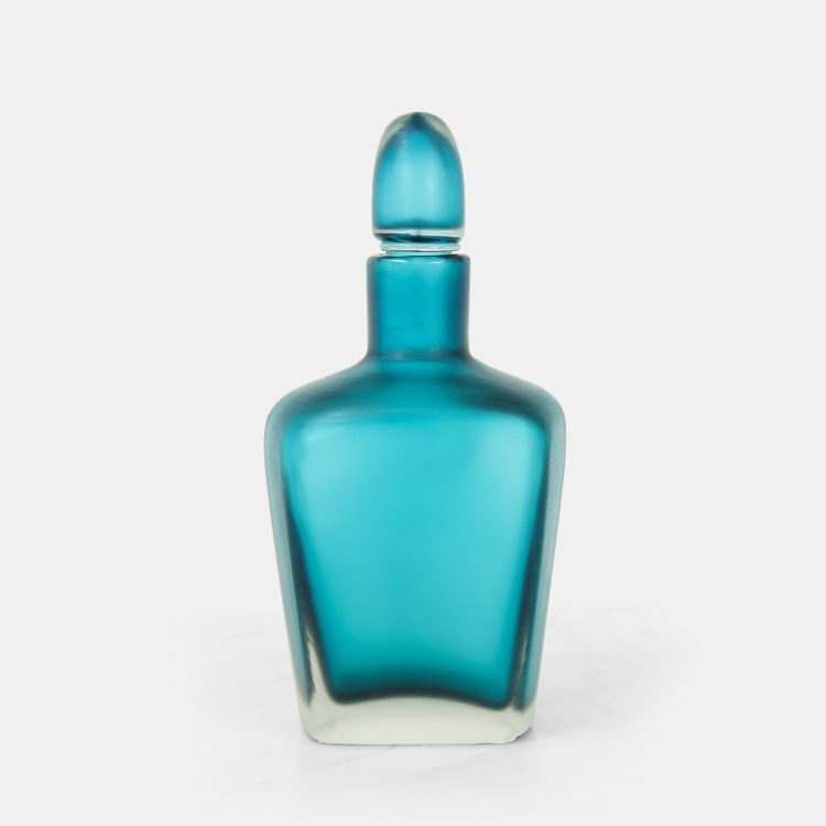 Turquoise Inciso Bottle with Stopper by Paolo Venini for Venini & C. | soyun k.