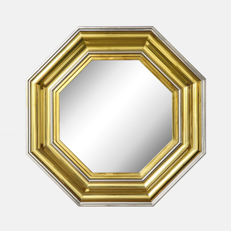 Large Brass and Chrome Octagonal Mirror by Sandro Petti for Maison Jansen | soyun k.