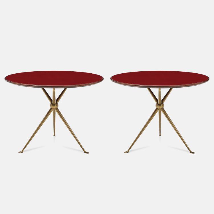 Rare Pair of Side Tables in Brass and Red Glass by Osvaldo Borsani for Arredamenti Borsani | soyun k.