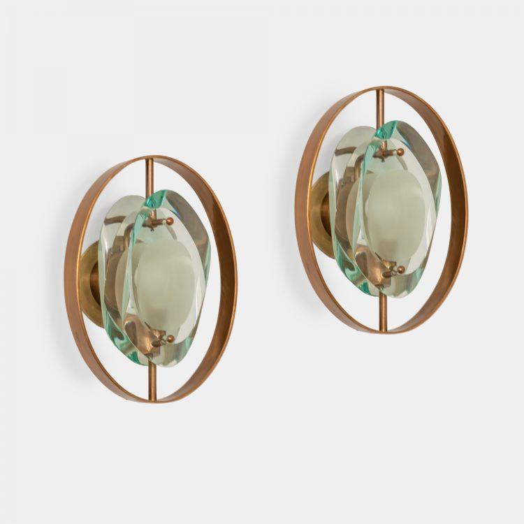 Rare Pair of 'Micro' Sconces Model 2240 by Max Ingrand for Fontana Arte | soyun k.