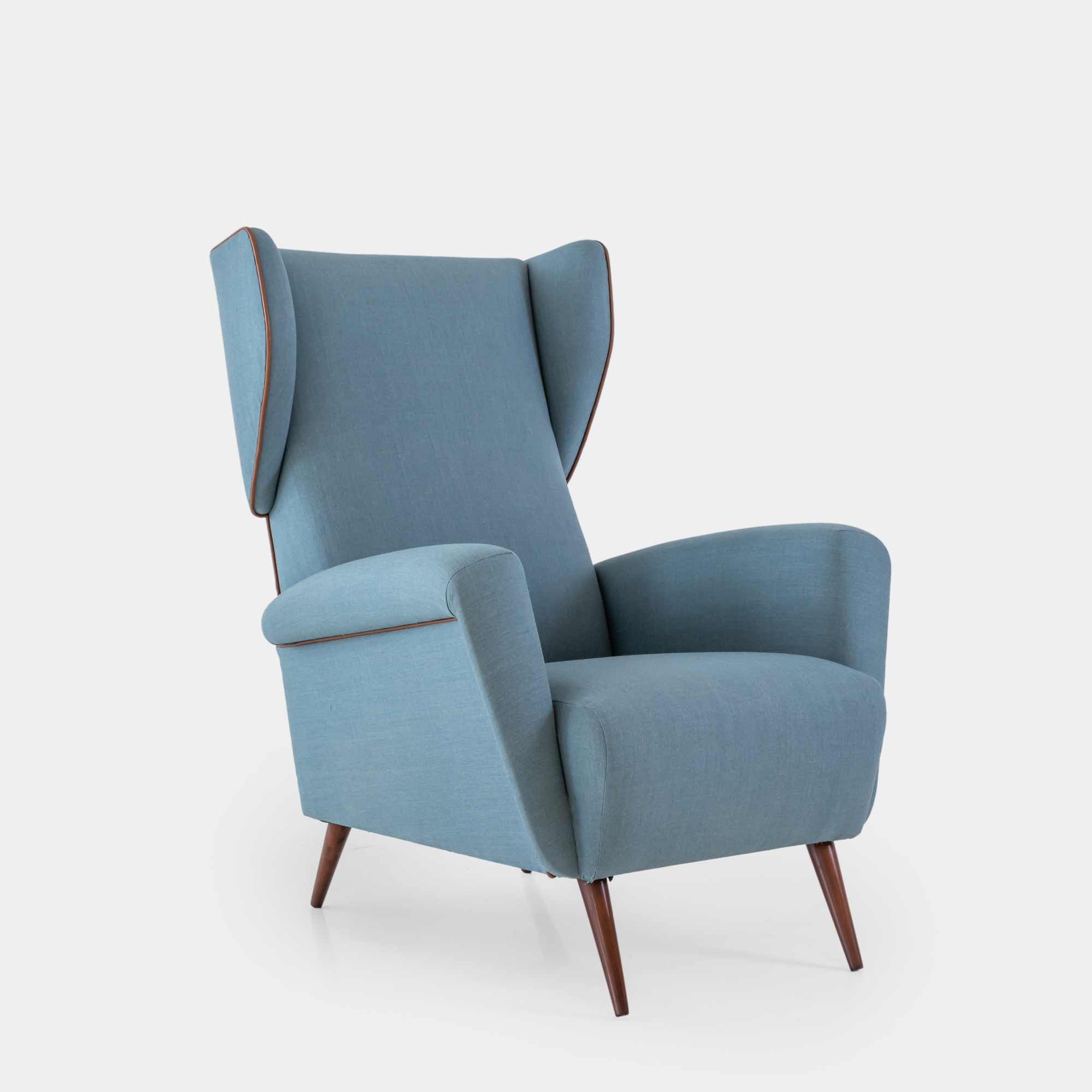 Lounge Chair in Light Blue Wool with Saddle Leather Piping by Gio Ponti for Cassina | soyun k.