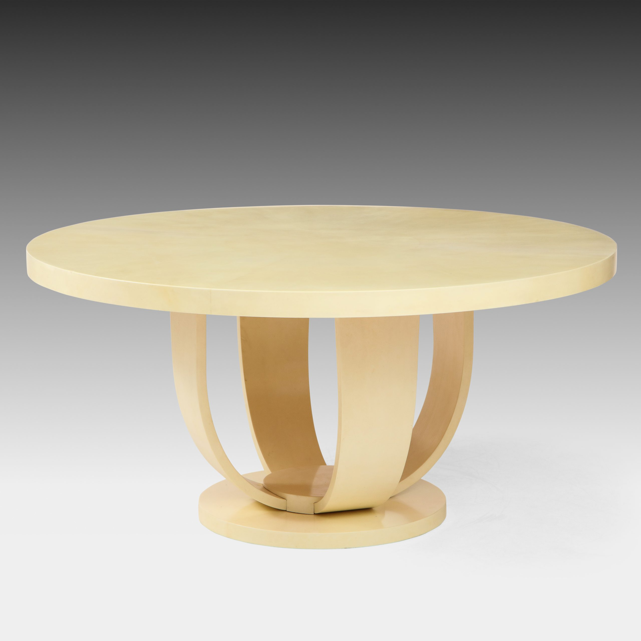 Ivory Lacquered Goatskin Center or Dining Table by Aldo Tura   soyun k.