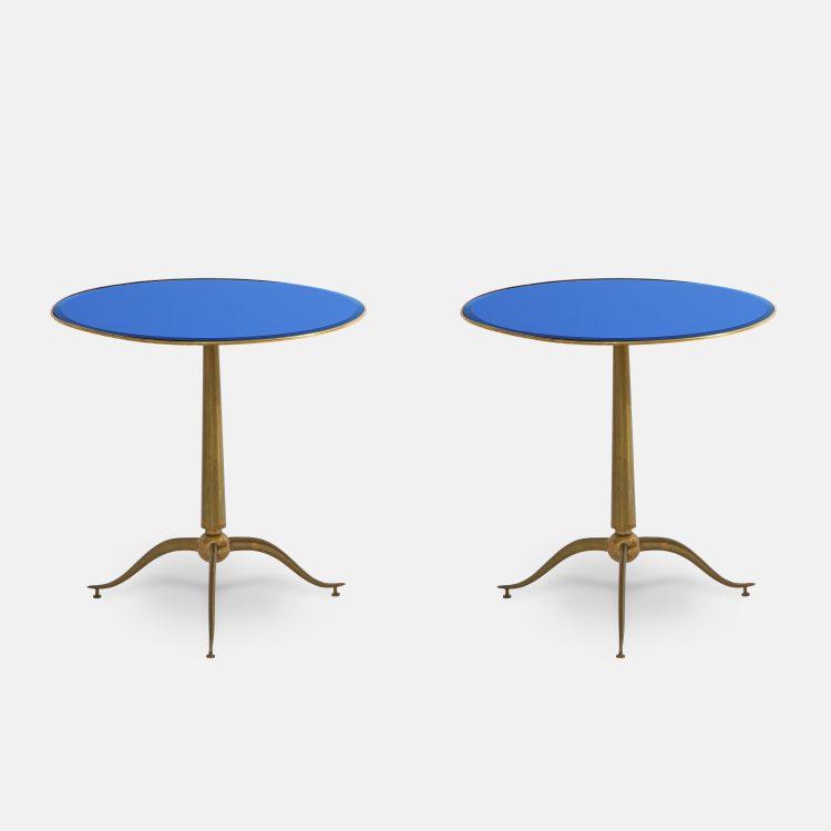 Rare Pair of Side Tables in Brass and Blue Glass by Osvaldo Borsani for Arredamenti Borsani | soyun k.