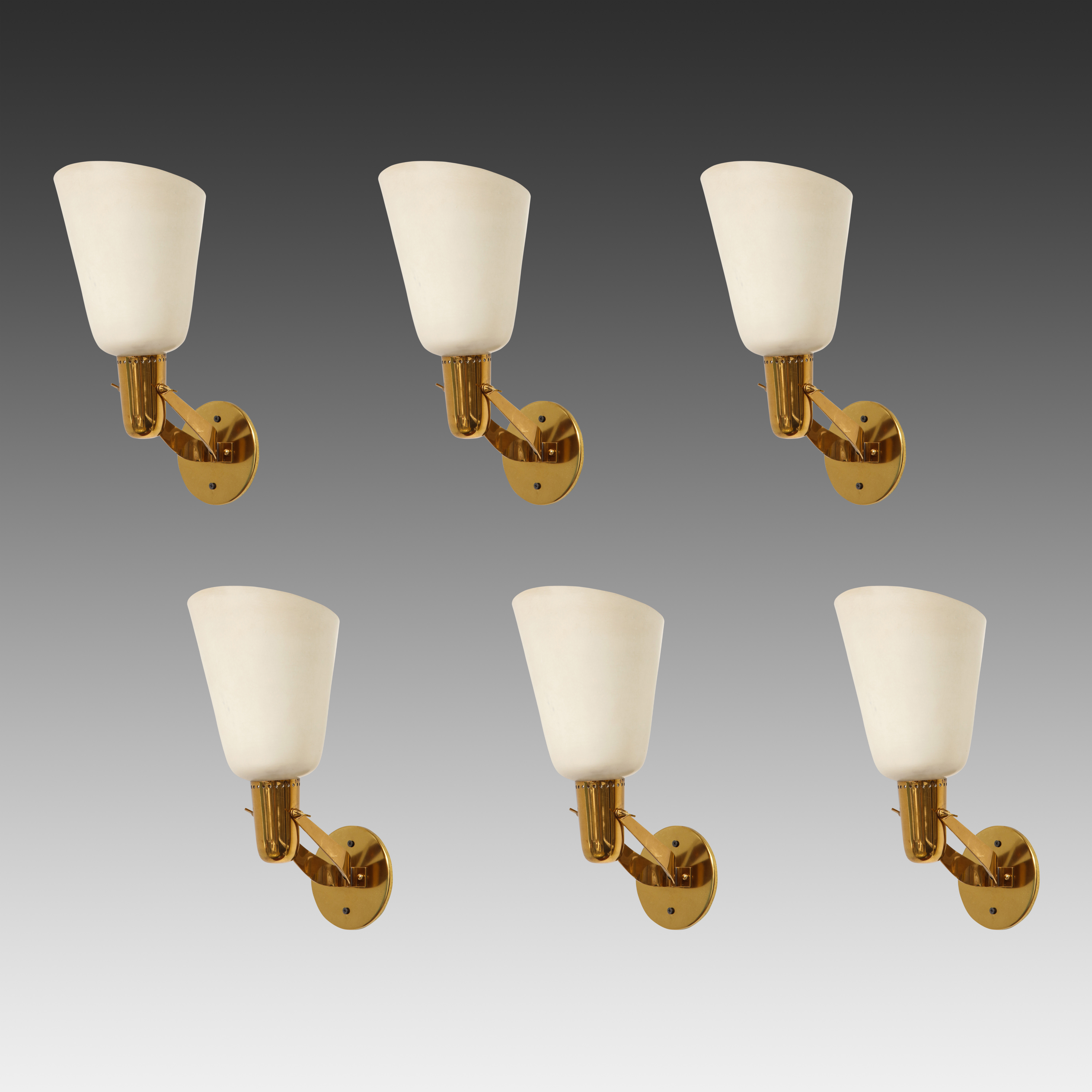 Rare Set of Six Sconces Model 121 by Gino Sarfatti for Arteluce | soyun k.