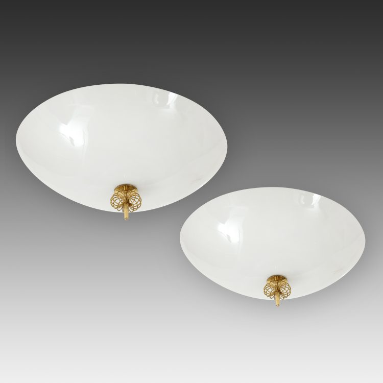 Pair of Flush Mounts Model 2093 by Paavo Tynell for Idman Oy | soyun k.