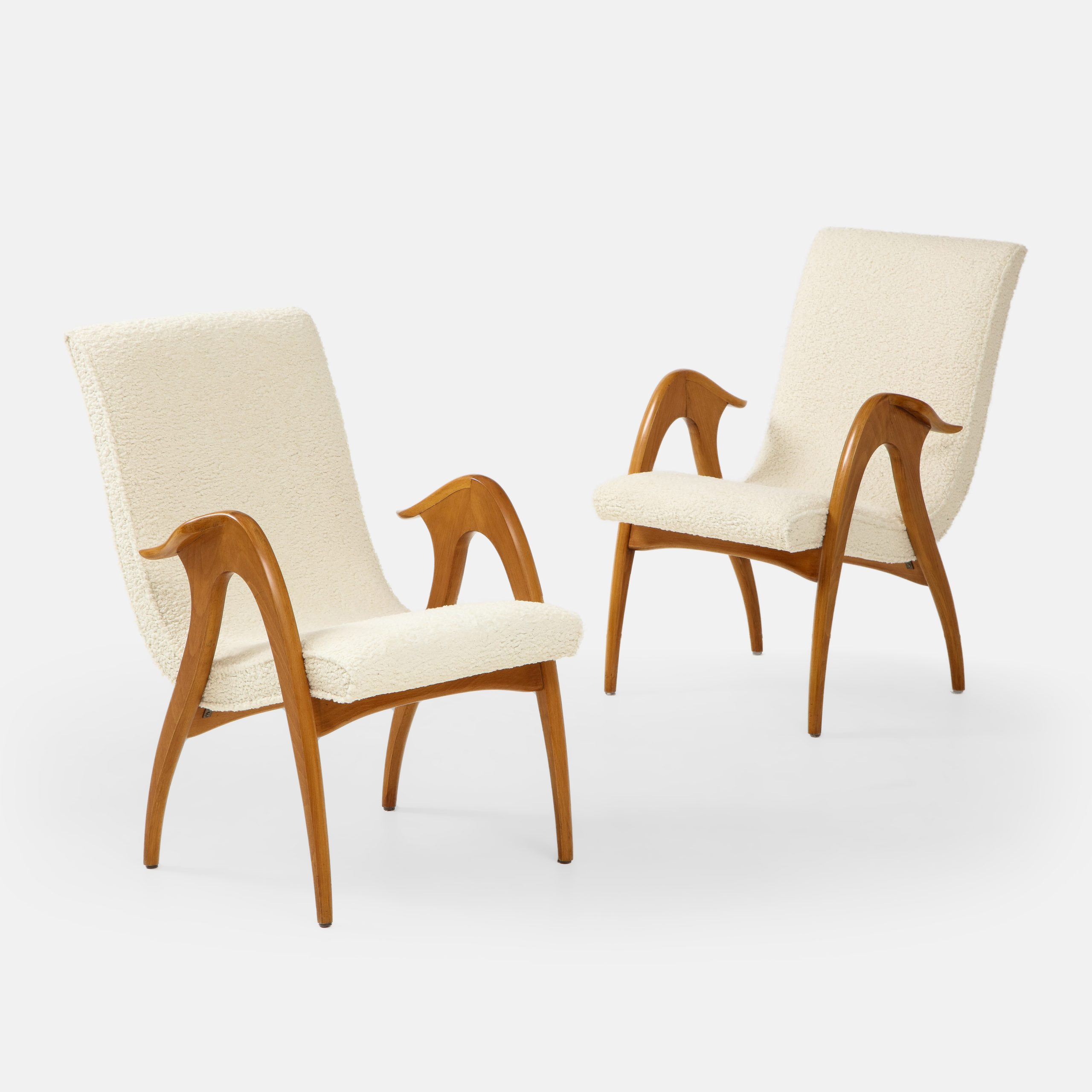 Pair of Sculptural Armchairs in Ivory Bouclé by Malatesta and Mason | soyun k.