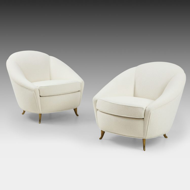 Pair of Ivory Bouclé Armchairs by Gio Ponti for ISA Bergamo | soyun k.