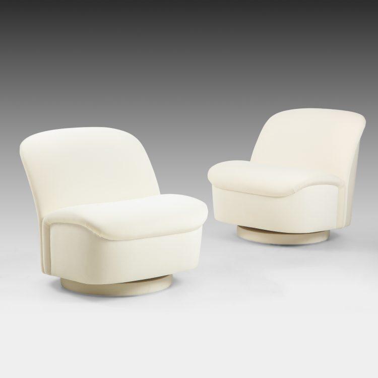 Pair of Ivory Velvet Swivel Lounge Chairs by Vladimir Kagan | soyun k.