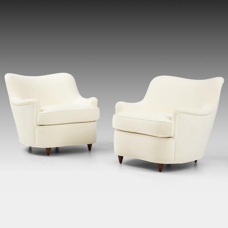 Pair of Ivory Velvet Armchairs by Gio Ponti for Casa e Giardino | soyun k.