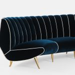 Rare Curved Channel Back Sofa in Navy Velvet by Giulia Veronesi for I.S.A. Bergamo | soyun k.