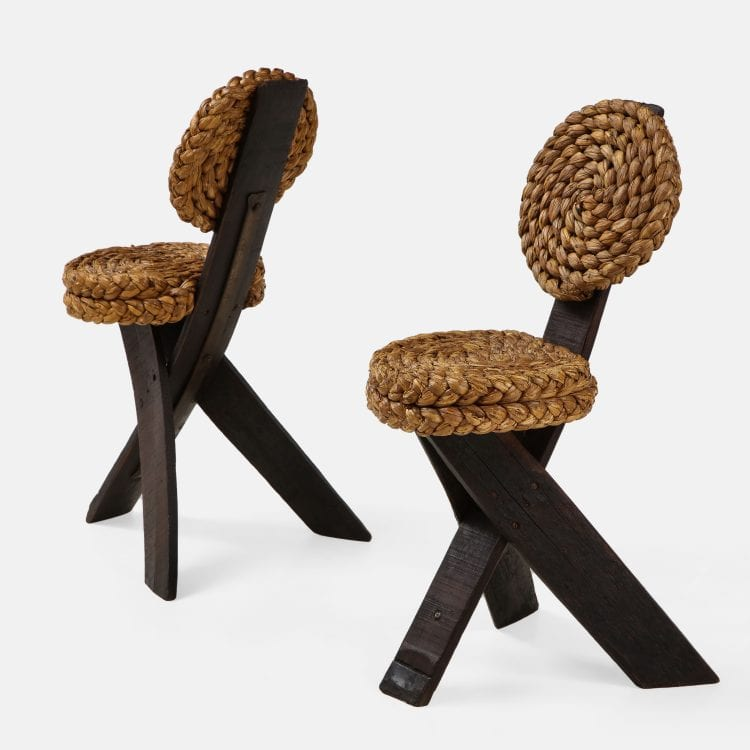 Pair of Sculptural Rope and Wood Chairs by Adrien Audoux and Frida Minet   soyun k.