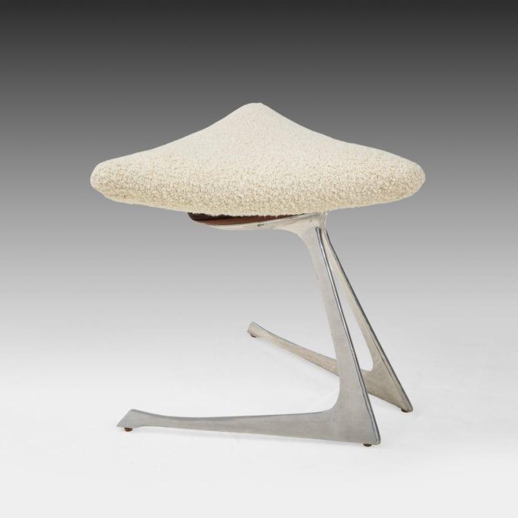 Unicorn Stool in Polished Aluminum and Ivory Bouclé by Vladimir Kagan for Vladimir Kagan Designs | soyun k.