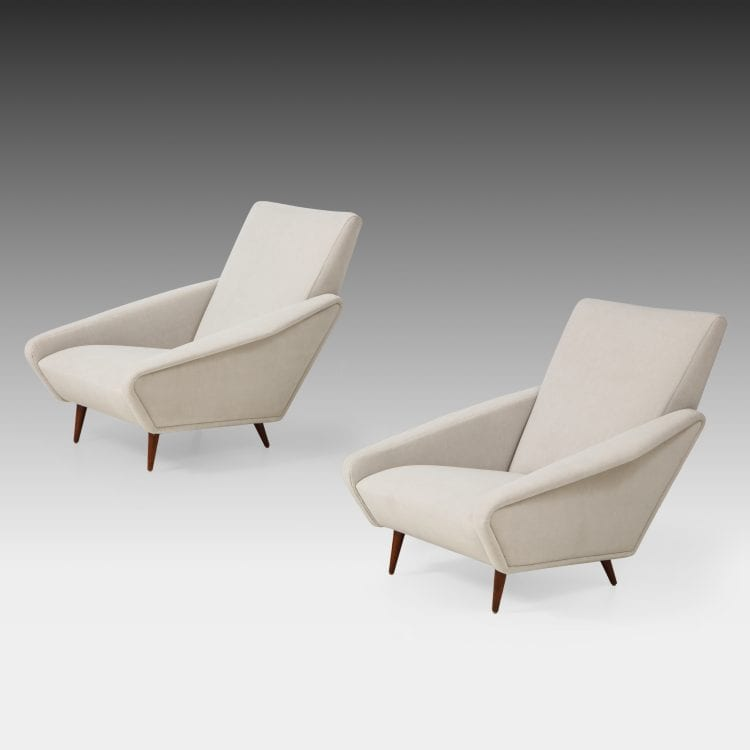 Rare Pair of 'Distex' Lounge Chairs Model 807 in Gray Velvet by Gio Ponti for Cassina | soyun k.