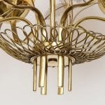 Chandelier Model 9029/6 in Brass and Amber Glass by Paavo Tynell for Taito Oy | soyun k.