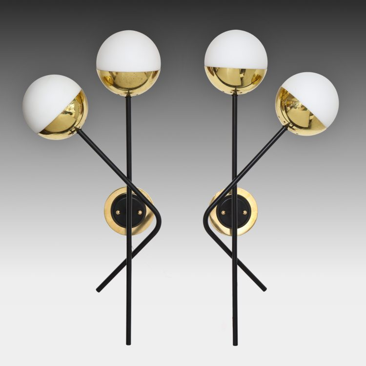 Pair of Modernist Brass and Opaque Glass Sconces by Stilnovo | soyun k.