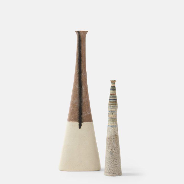 Set of Two Glazed Ceramic Vases by Bruno Gambone | soyun k.
