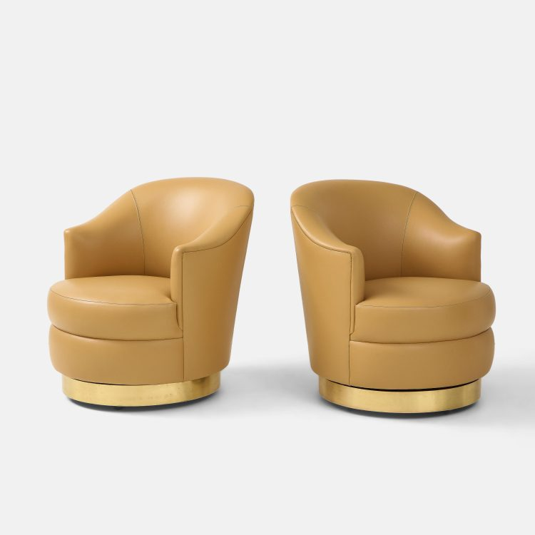 Pair of Swivel Chairs in Camel Edelman Leather and Brass by Karl Springer   soyun k.