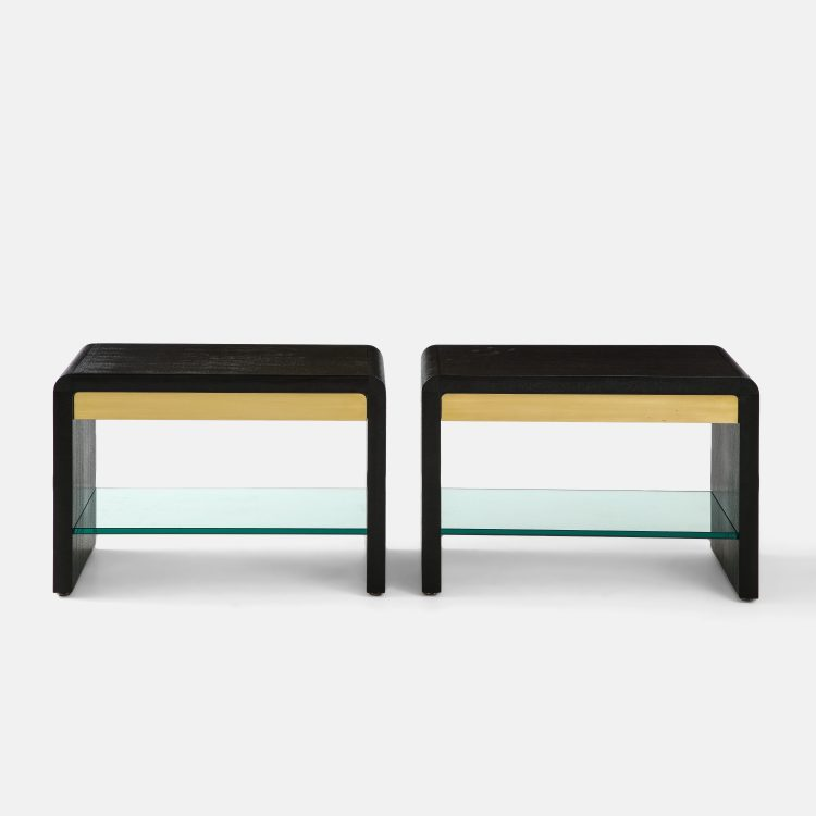 Pair of Waterfall Side Tables in Lizard, Brass and Glass by Karl Springer | soyun k.