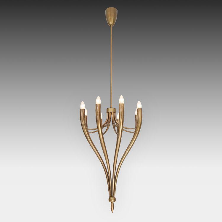 Brass Eight-Arm Chandelier by Guglielmo Ulrich | soyun k.